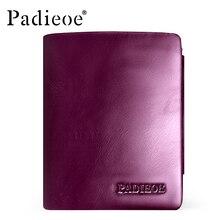 Padieoe Women's Genuine Leather Short Wallet Oil Wax Leather Zipper Coin Purse Fashion Clutch Female Luxury Brand Card Holder