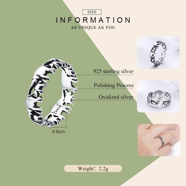 BISAER Original 2019 925 Sterling Silver Vintage Ethnic elephant Animal Stackable Women Finger Rings Vintage Silver Bague GXR344 2