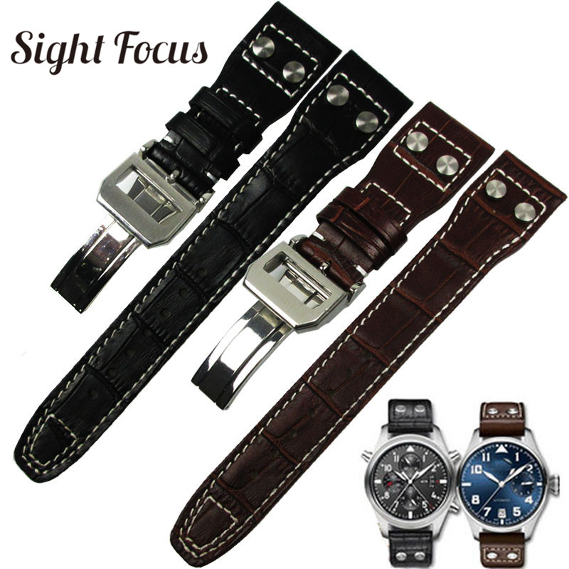 22mm Real Calfskin Leather Military Style Watch Band For IWC Strap Watch Men Mark Big Pilot Bracelet Rivet Belt Correas Hombres