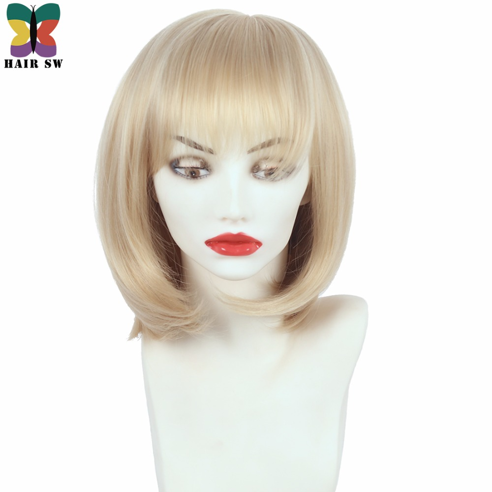 HAIR SW Short Straight High Temperature Fiber Synthetic Wig With Bangs Bob Womens Classical Blonde Wigs For Ladies