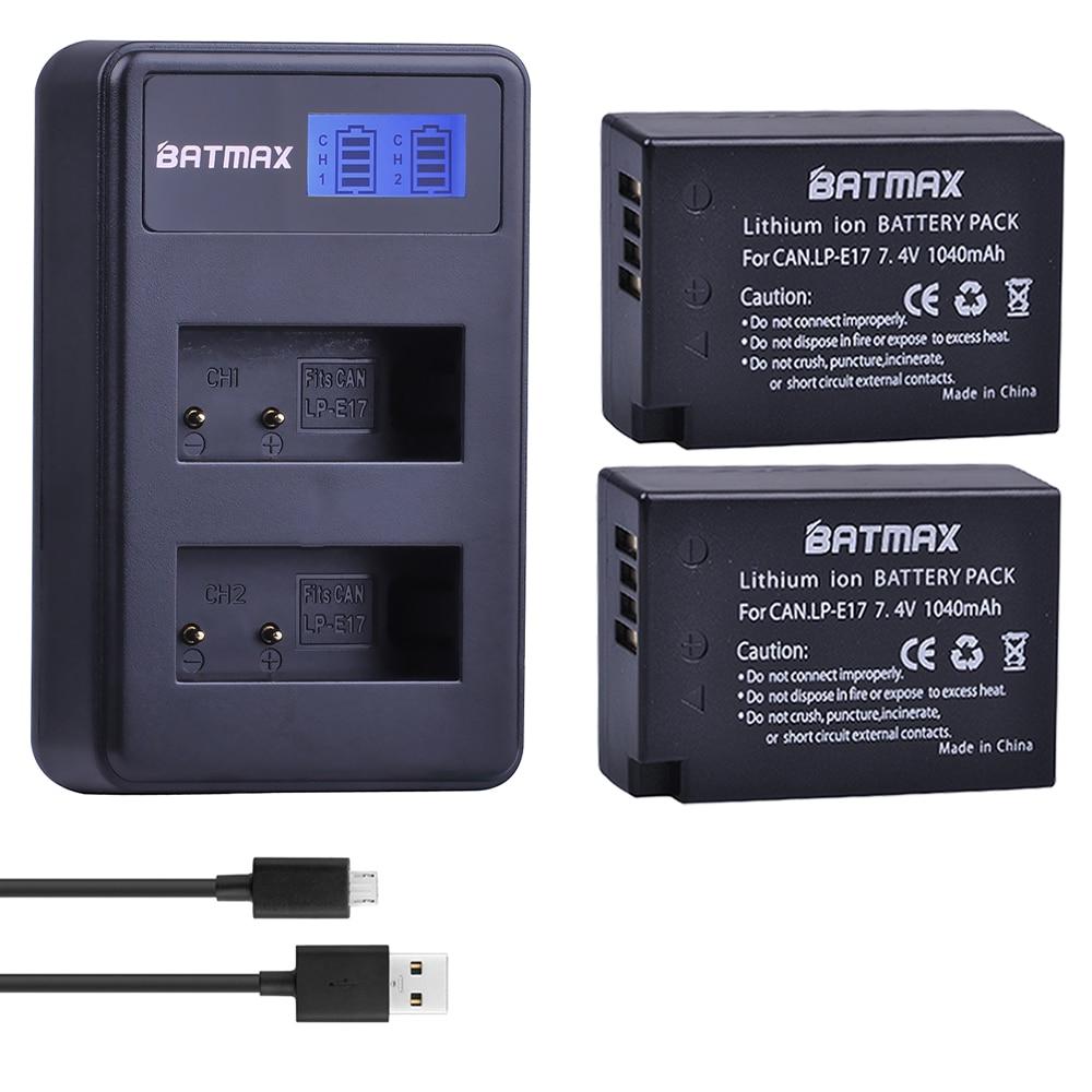 2X 1040mAh LP-E17 LPE17 LP E17 Camera Battery +LCD Dual USB Charger For Canon EOS M3 M5 M6 750D 760D T6i T6s 800D 8000D Kiss X8i