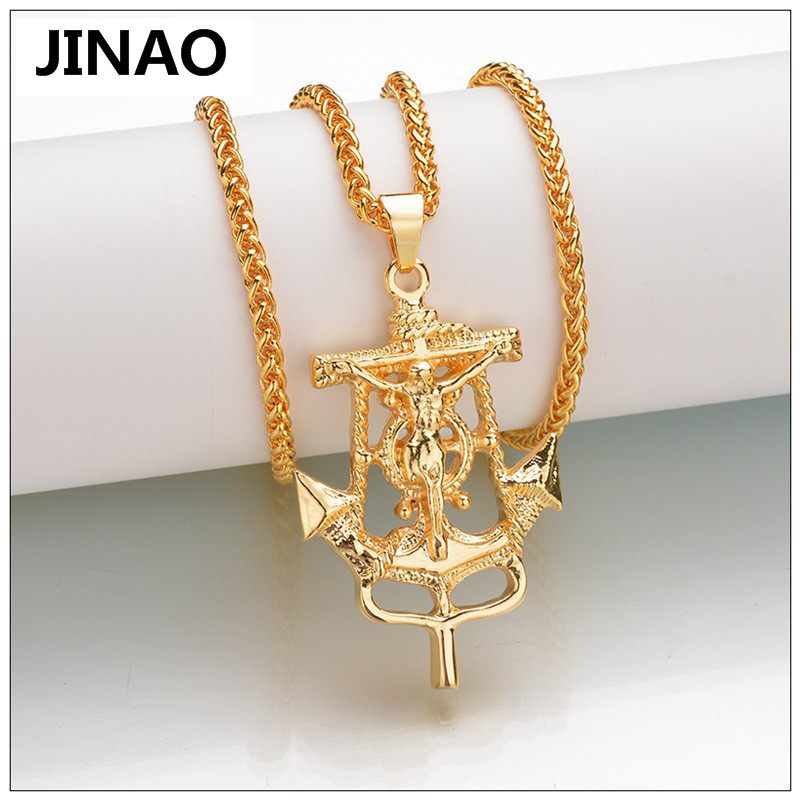 JINAO Hip Hop European And United States Fashion JESUS Cross Mediterranean anchor Gold Color Plated Pendant Necklace