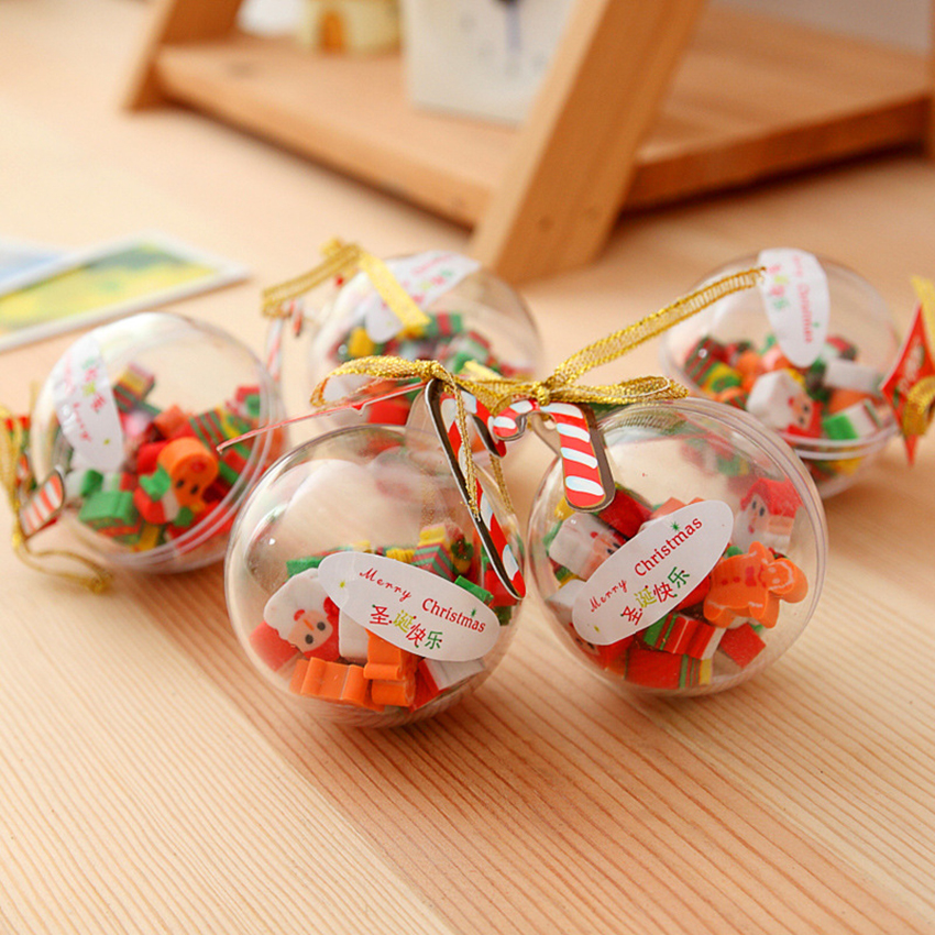 12 PCS/Lot Christmas Santa Snowman Eraser With Transparent Packaging Ball Small Pencil Writing Eraser Stationery Gift For Kids