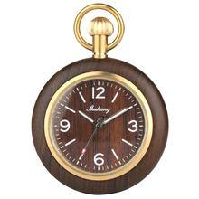 Деревянные мужские карманные часы ручной работы с чехлом кварцевые