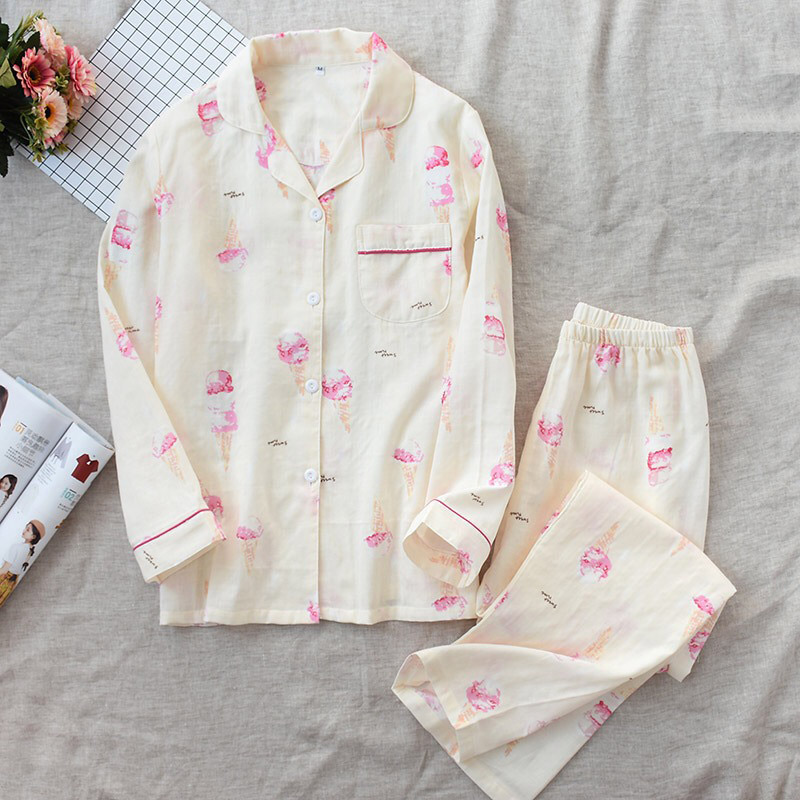 Image 3 - 2019 New Women Pajamas Set Ice Cream Printed 100% Gauze Cotton Ladies Sleepwear Two Piece Set Turn down Collar Household Clothes-in Pajama Sets from Underwear & Sleepwears