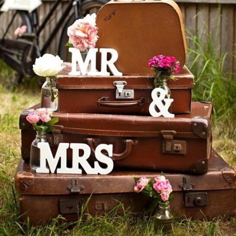 Комплект из 3 предметов Свадебные украшения Mr & Mrs Mariage Декор День рождения украшения для взрослых белые буквы свадьба знак реквизит для фото...