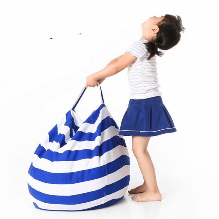 Receptáculo das crianças grande brinquedo de pelúcia saco resistente durável multi-purpose preguiçoso sofá cadeira de feijão lona roupas organizador do armário