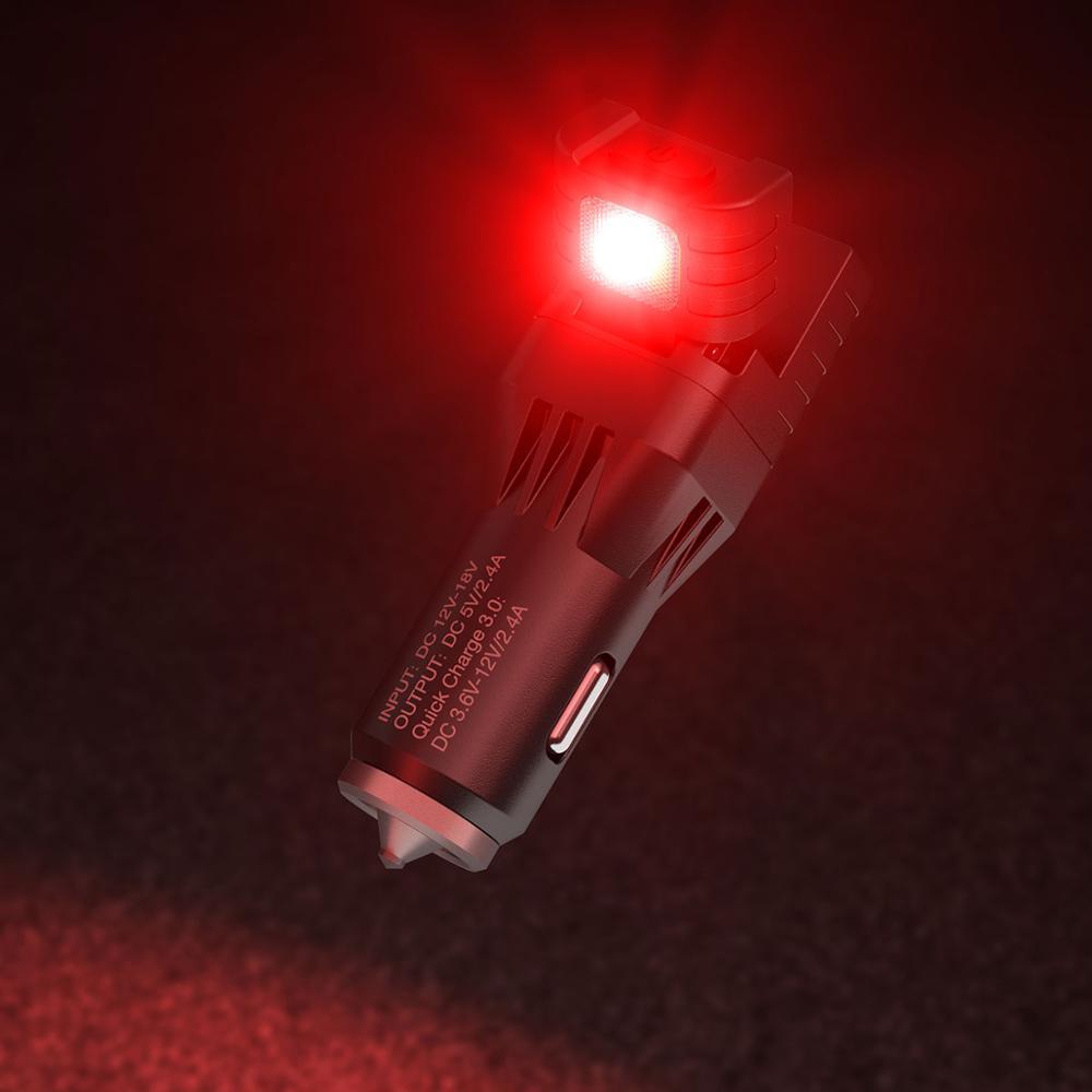 NITECORE VCL10 Multifunctional Vehicle Gadget QC 3.0 Vehicle Charger Glass Hammer Emergency Warning Lighting Car Backup Lamp