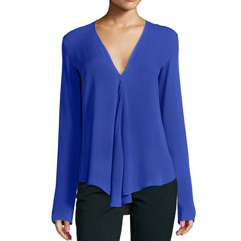 2019 Spring Women Shirts Sexy Ladies V-neck Long-sleeved Tops Office Work OL Chiffon Irregular Chiffon Blouses Plus Size 6XL Price $9.60