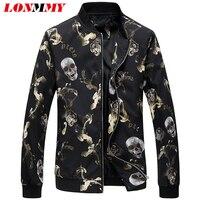 LONMMY 플러스 사이즈 5XL 6XL 겉옷 남성 자켓 캐주얼 코트 슬림핏 남성 재킷 육군 패션 두개골 패턴 2018