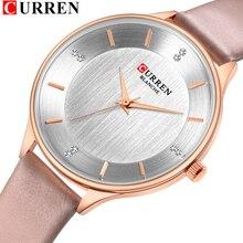 Relógios para mulher marca superior curren rhinestone wriswatch feminino com senhoras de couro vestido relógio feminino relogio feminino