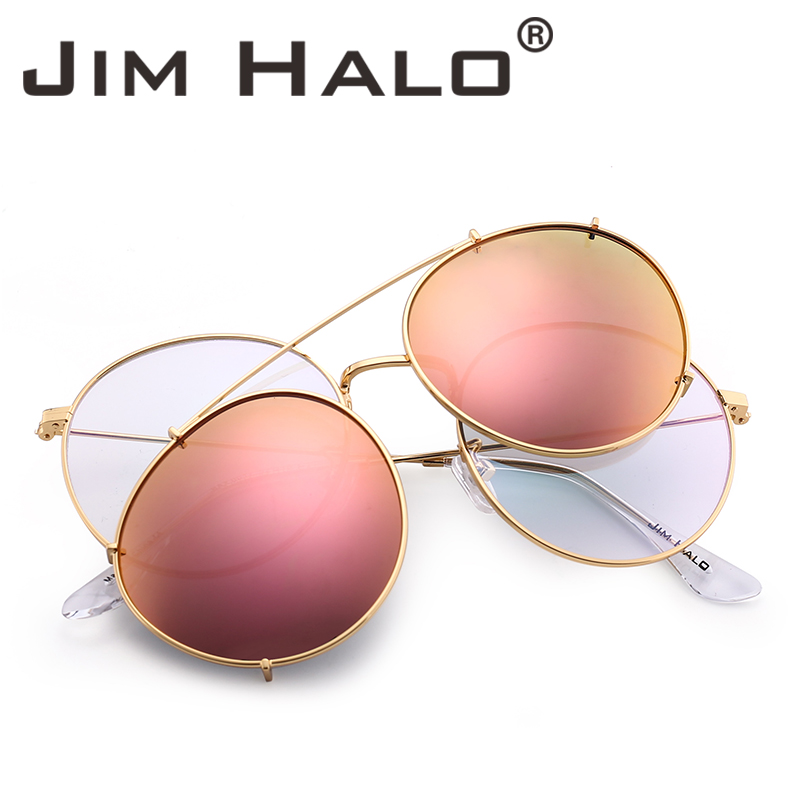 e0b268349e Jim Halo Retro Round Polarized Clip on Removable Sunglasses Women Men  Double Flat Mirror Lens Alloy