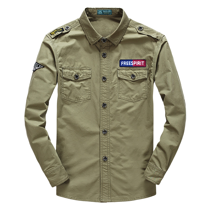 Men's Clothing Smart 2018 Autumn Men Military Casual Brand 100% Cotton Army Green Shirt Man Spring Afs Jeep Khaki Long Sleeve Shirts Dark Blue Camisa