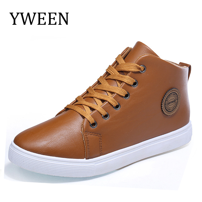 YWEEN Men Casual Shoes High Style 2017 Spring Autumn Hot Sale PU leather Solid Lace-up Fashion Youth Flat With Shoe men canvas shoes 2017 spring autumn hot sale men s fashion splicing lace up casual male breathable flat shoes size 39 44