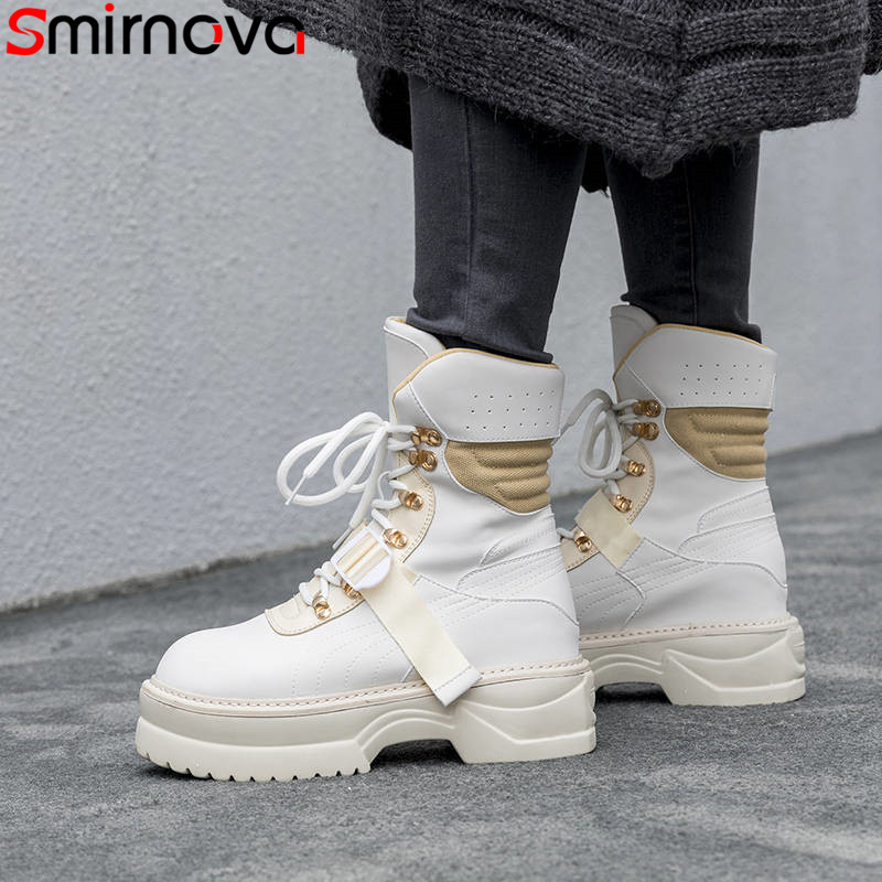 Smirnova 2018 fashion autumn winter boots women round toe ankle boots platform genuine leather motorcycles boots lace up