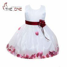 Filles Princesse Partie Robe Fille D'été Fleur De Mariage Robe Enfants Tutu Robe de Soirée Bébé pétale Dentelle robe de Bal T155