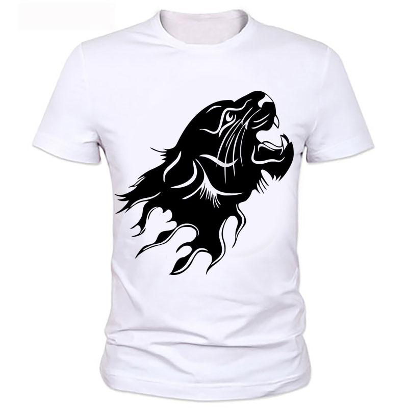 Black tiger character printed t-shirts summer Creative mens design printed T-shirt short sleeve O-neck Tiger mens T-shirt 69#