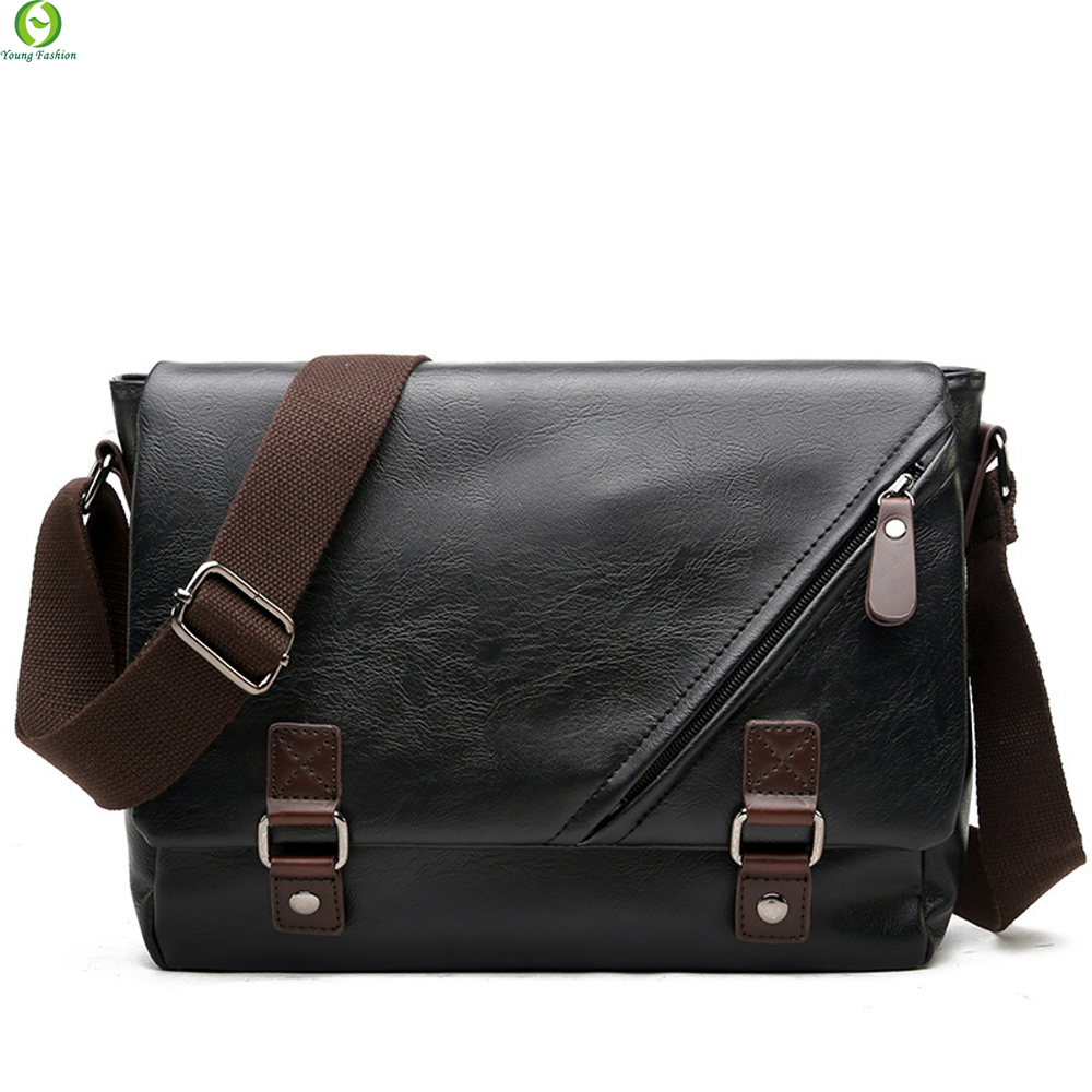 Young Fashion leather Men messenger bags casual Men s travel bags Man shoulder Laptop bag Black