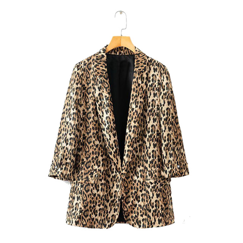 Autumn Women Brown Leopard Blazers Female Jackets For Womens Outwear Feminine Office Ladies Notched Collar Tops Suits Sets