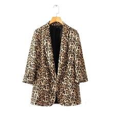 Осень 2018 г. для женщин коричневый Леопардовый Блейзер Женский куртки для s Верхняя одежда женственный офисные женские туфли зубчатый воротни