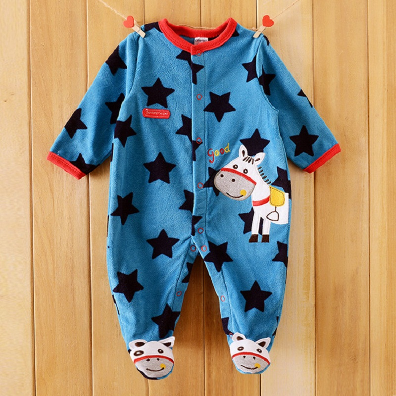 0-12M Baby Boy Rompers Blue Star Horse Baby Rompers Long Sleeves O-Neck Fleece Giraffe Baby Clothing Character Pattern baby rompers o neck 100