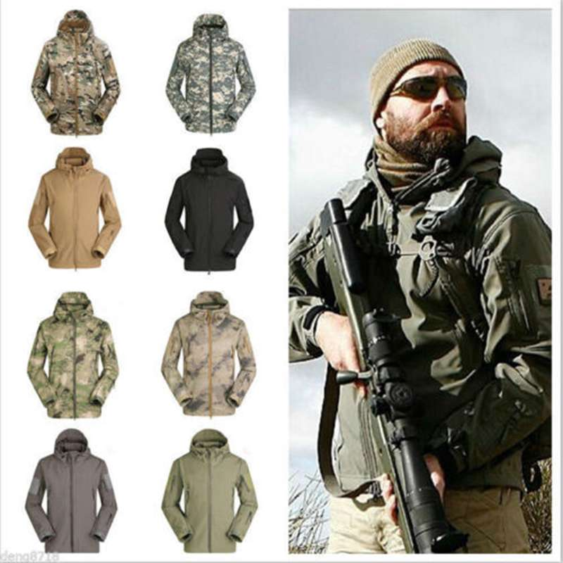 Dropshipping Lurker Shark Skin Softshell V5 Military Tactical Jacket Men Waterproof Coat Camouflage Hooded Army Camo Clothing lurker shark skin soft shell v4 military tactical jacket men waterproof windproof warm coat camouflage hooded camo army clothing