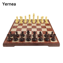 Yernea New Magnetic Folding Chess pieces board Game Set Plastic Checkers Chessboard Games Entertainment Gift