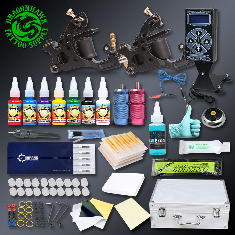 Professional Tattoo Kit Set Handmade Wrie Cuttingf Tattoo Machine Gun Immoral Tattoo Inks Tattoo Power Supply
