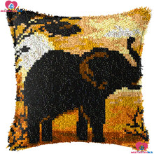 Elephant Tree Diy Latch Hook Kits Pillowcase Cushion 3d Printed canvas Cover Crochet Latch Hook kits Unfinished home decor(China)