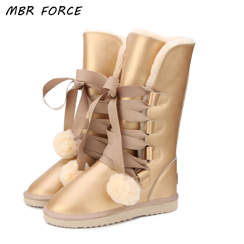 MBR FORCE UG Classic Women Snow Boots Leather Winter Shoes Boot bota feminina botas mujer zapatos Women waterproof Snow Boots
