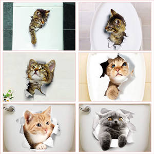 Toilet-Stickers Wc Wash-Room Animal Funny Home-Decoration Cat Pvc for Diy Vivid 3d Wall-Decals