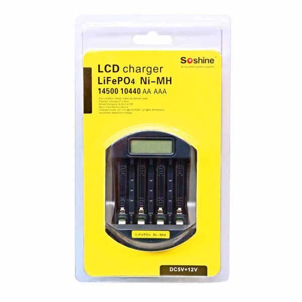 الأصلي Soshine SC-C5 شاحن بطارية ذكي مع LCD و USB الإدخال الشواحن الذكية ل LitePO4 14500 10440 نيمه AA AAA