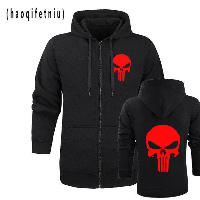 the punisher Skull hoodies men zipper fitness casual fleece jacket harajuku sweatshirts drake streetwear hoody homme m-2XL 1