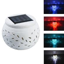 Solar Powered Ceramics lights LED Table Lamp Color Changing lamp For  Outdoor Garden Decoration