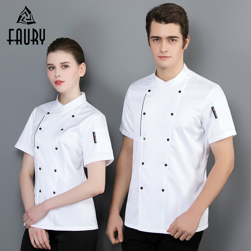 Chef Jacket Short Sleeve Restaurant Uniform Double-breasted Work Coat Kitchen Cooking Bakery Sushi Cafe Men Women Work Clothes