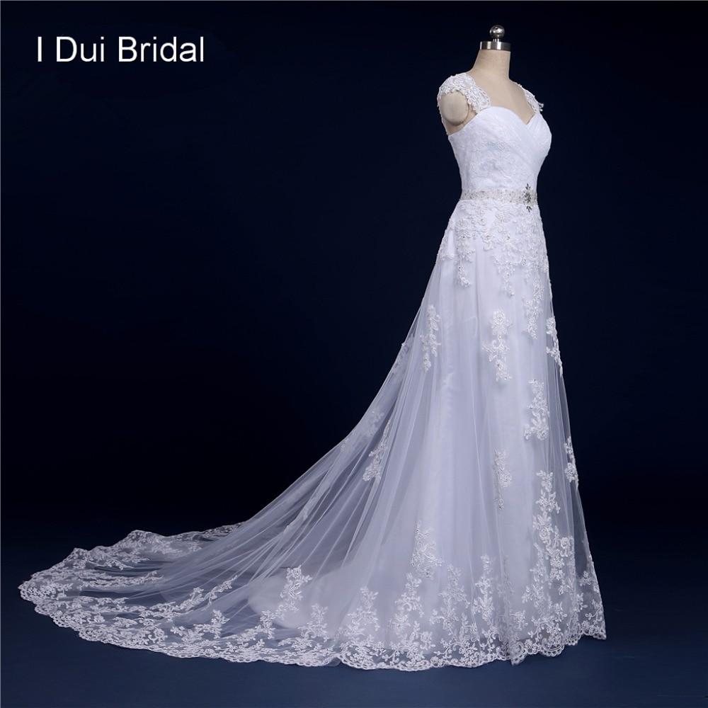 Kaus kaki belakang renda gaun pengantin gambar sejati garis appliqued manik manik kekasih tanpa lengan adat dibuat 214204