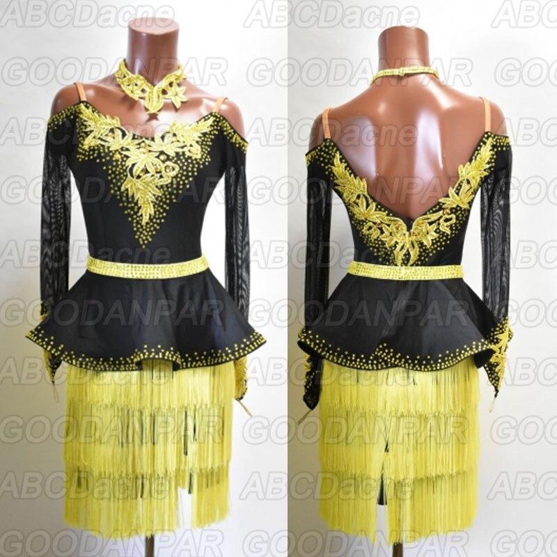 Black Latin Dance Dress Women Long Sleeve Yellow Tassel Sexy Ballroom Dresses Latin Salsa Costume