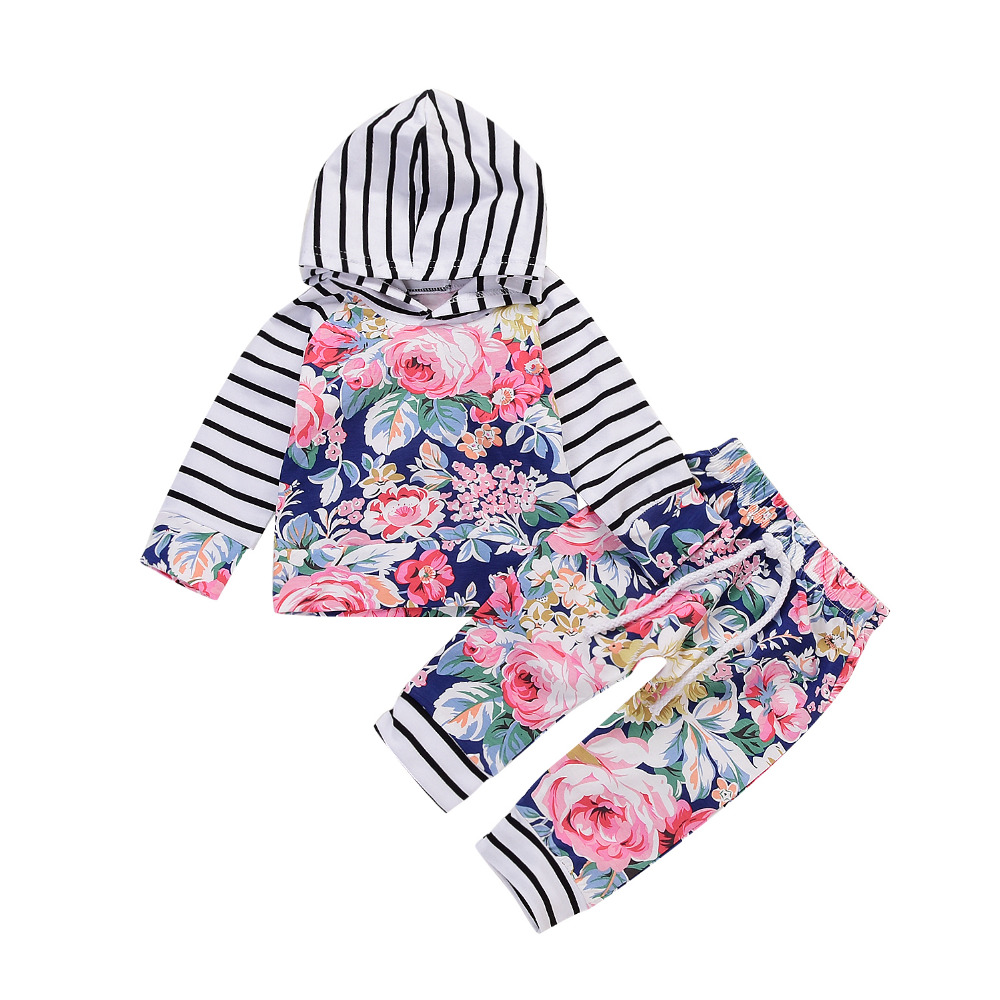 Newborn Baby Girl Clothes stripe printing Side Pink Coat Hoodie Top Sweatshirt Pants Leggings Outfits Set ship from USA