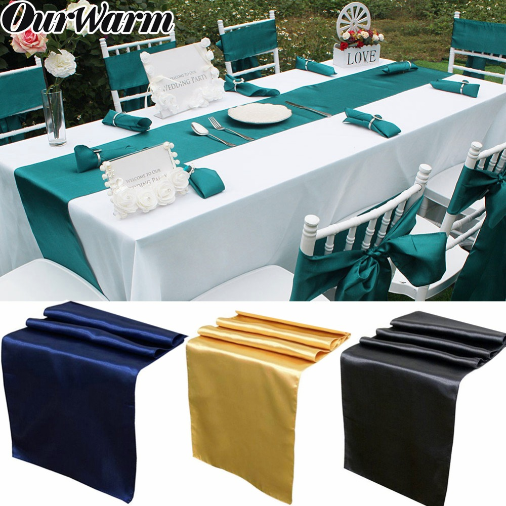 OurWarm 30x275cm Modern Simple Satin Table Runners Cover Table Decoration Wedding Party Table Runner Cloth 15 Colors For Home