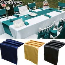 OurWarm 30x275cm Modern Simple Satin Table Runners Cover Decoration Wedding Party Runner Cloth 15 Colors For Home