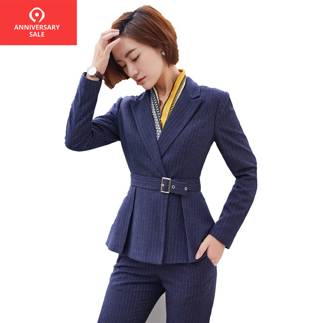 bff94d1cba145 Bettolvis 2019 winter warm women pants suits formal long sleeve blue blazer  and pants office ladies waistband work wear suit