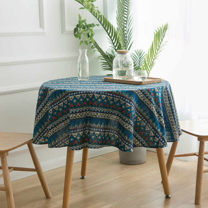 11 Style Pastoral Cotton Linen Round Tablecloth Bohemia Home Decoration Coffee Table Cloth Outdoor Picnic Waterproof Table Cover