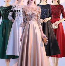 Dress Shining Sequins Floor length Party Dresses Vintage Gold O-neck Half Sleeve Formal