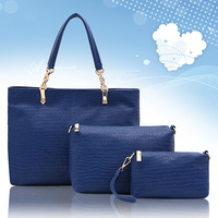 3 Piece Lady Handbag Set Fashion Handbag PU Leather Latest Designer Women Bag 3 Colors High