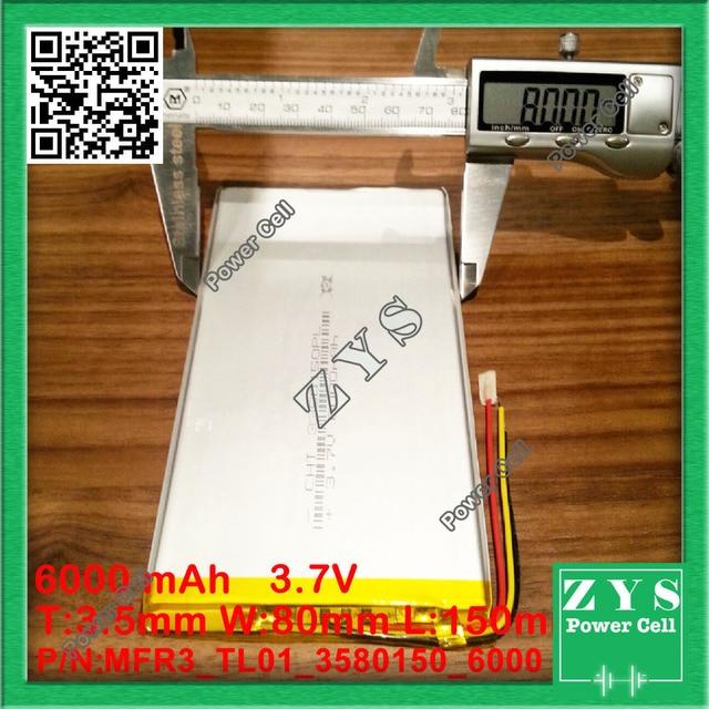 Imballaggio di sicurezza (Lavel 4) 3.7 V batteria tablet 6000 mah ogni marca tablet universale batterie al litio ricaricabili 3580150