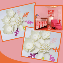 Handmade Ivory Easy Made DIY Paper Flowers Multi Leaves Set For Nursery Wall Deco Baby Shower Backdrop Video Step By