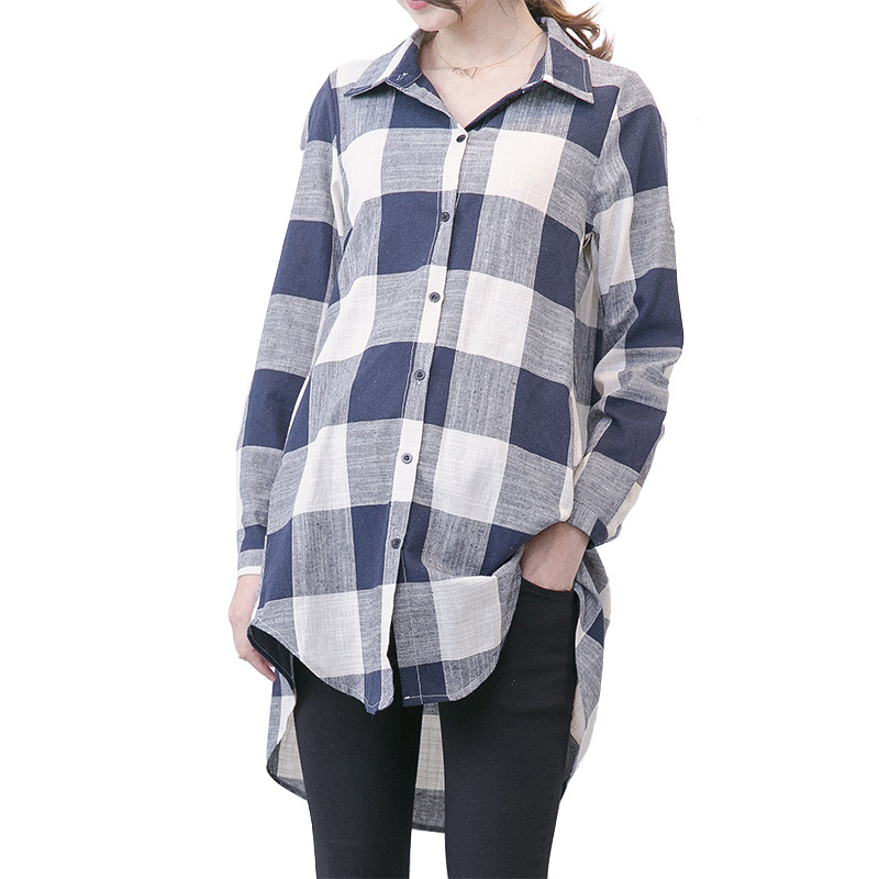 цена на Spring Summer Maternity Long Plaid Shirts Pregnancy Blouse Tops Clothes For Pregnant Women Maternity Casual Clothes H126