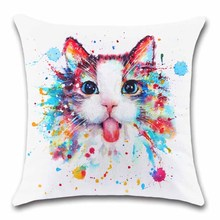 Cute cat pet watercolor printing white Cushion Cover Decoration Home sofa chair seat kids bedroom gift friend present pillowcase