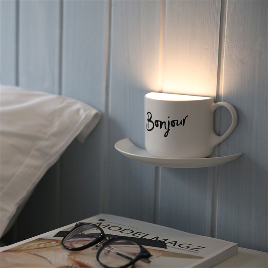Creative Novelty Coffee Cup Diy Led Night Light Table Lamp Home Decor Romantic Usb Charge