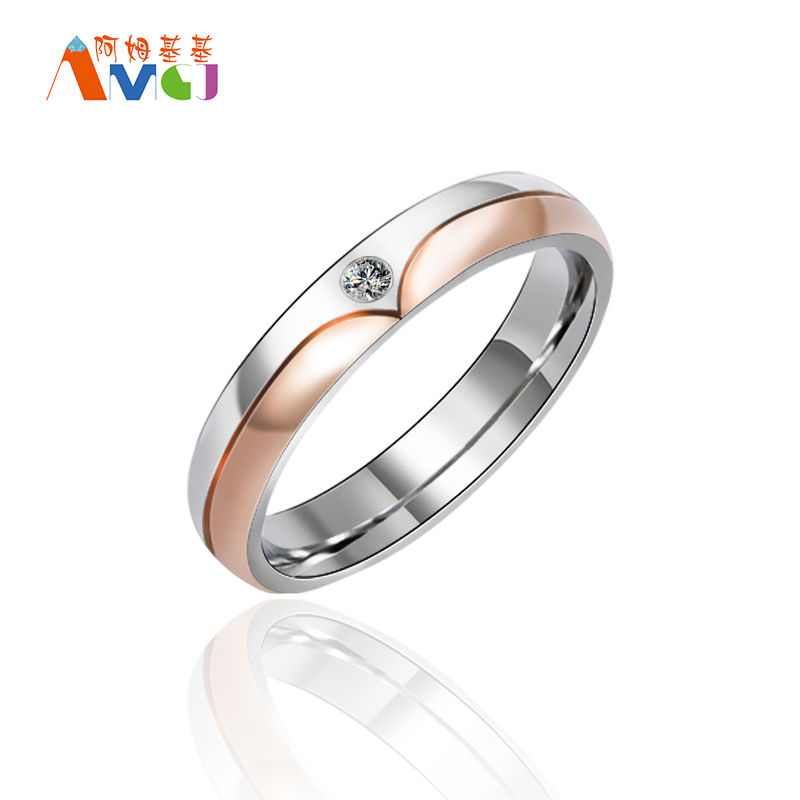 Rose Gold Anchor Ring Cz Stone Women Wedding Rings Stainless Steel